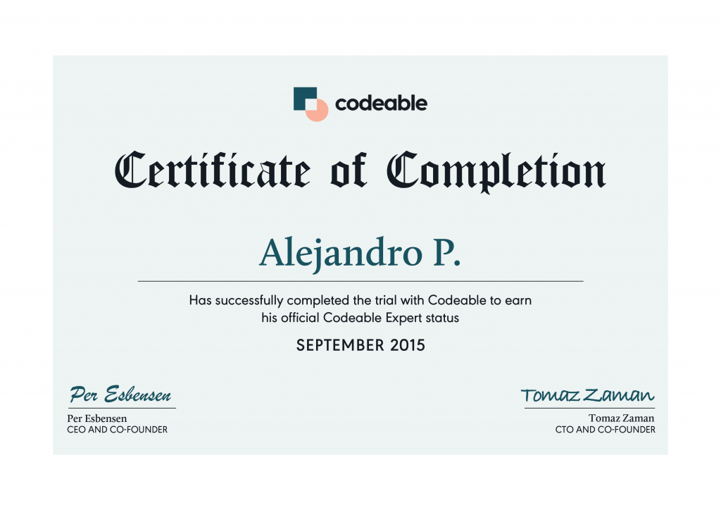 Codeable Certificate of Completion